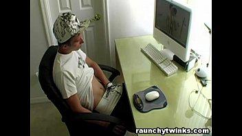 Cute blonde twink Caden watches gay porn