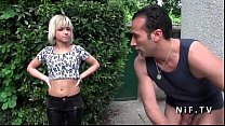 Gorgeous young french blonde hard banged by the gardener