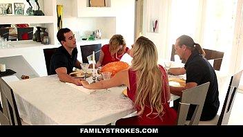 FamilyStrokes - Step Sister (Angel Smalls) Sucks And Fucks Brother During Thanksgiving Dinner