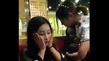 Public blowjob in restaurant asia