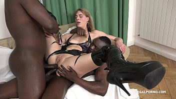 Giant Jentina Small savagely fucked by 2 Big Black Cocks - Falls in love!