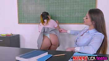 Teacher Cathy bangs Aninas sweet pussy by her dildo strap
