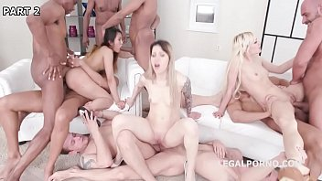 Three Bitches Anally Destroyed By A Gang Of Horny Studs