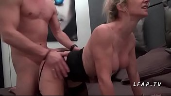 Busty cougar mom in lingerie banged like a bitch