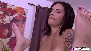 Busty shemales explored each other bodies after a massage