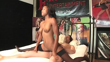 Ebony teen Ivy Sherwood rides stud's dong reverse cowgirl