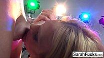 Blonde MILF Sarah shows off her cocksucking skills