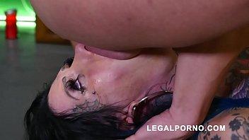 Megan Inky first time on LP with nasty deepthroat & balls deep DP S006