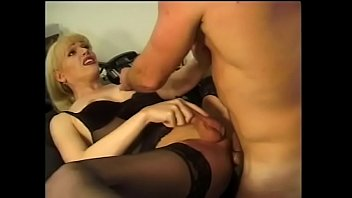 Busty blonde shemale bends over to take it from the back