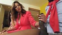 Stepmom surprises her stepdaughter sucking boyfriend's cock and joins them