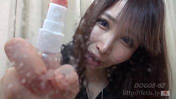 Dog sniffing busty girl 2 Spit busty & Saliva perfume version by FETIS