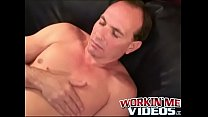 Balding gay guy works on his fat cock  and makes cum explode