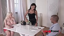 Busty Babes Kyra Hot & Cristina Miller in Titty Suck and Fuck Threesome GP154