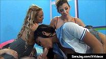 Milf Sara Jay Does Freaky Foursome With Crazy Girls - WTF?