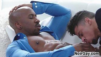 Latin twink seduces his big black stepdad