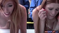 A shoplifter teen and her sexy mom get punish fucked