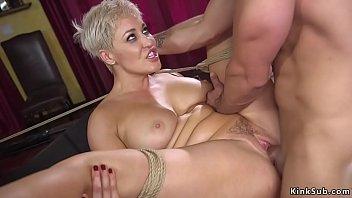 Husband bangs huge tits blonde wife bdsm