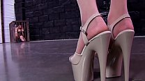 Extremely HOT girl in SEXIEST outfit ballbusting a slave!