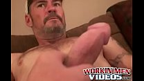 Mature and beefy gay shows off tattoo and masturbation