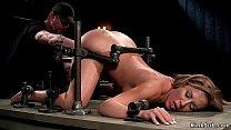 Hottie begs master to cum in bondage