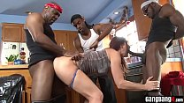 Cooking show ends in interracial orgy with skinny slut