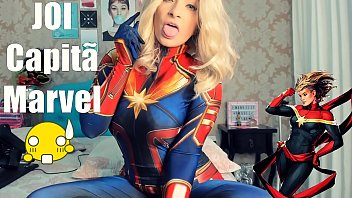 Joi Portugues Cosplay Capita Marvel SEX MACHINE, doing Blowjob Deep throat Cumming on breasts and Cumming on ass AMAZING JOI
