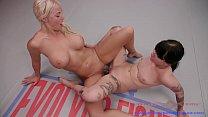 Busty London River lesbian sex wrestling dominates Charlotte Sartre