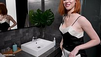 Busty redhead from England, Lenina Crowne fucks and gets a facial