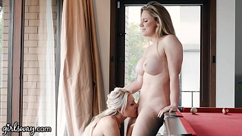 GIRLSWAY Lesbian Aussie Couple Scissors on Pool Table