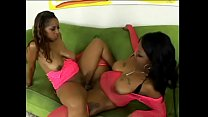 Two pussy licking black bi girls in pink lingerie suck and fuck each others cunt