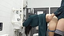 College student couple having sex in the toilet, after having a boy blow job, insert raw and stand outside and ejaculate odious in and out