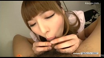 Japa helping to clean the chubby's dick