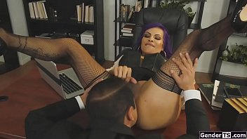Latin milf ts boss is analed by employee