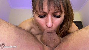 Hot Babe Deep Sucking Big Dick Lover after Watching Porn - Closeup