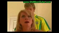 blond mom and son