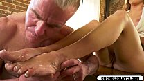 Cuckold cleans black monster cock cum off white wifes feet