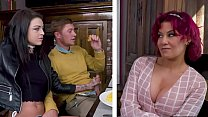 Rebellious Teen Girlfriend Kimber Veils Sucks BF's Dick While Having Lunch With His Mom!