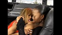 Ebony babe sucks GF feet after fucking her with a strap on