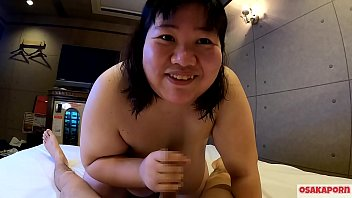 Super fatty Japanese girl talks in interview and enjoys blowjob with bouncing huge tits and fat ass.  Asian takes shower and does oral deepthroat. BBW Chiharu OSAKAPORN