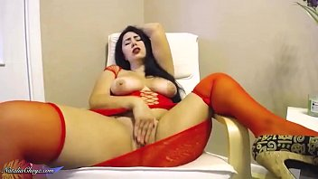 Big Butt Girl in Red Dress Passionate Fingering Pussy