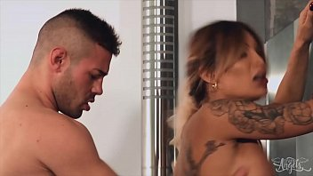 Gorgeous Tranny (Vanessa Jhons) Gets Fucked In The Shower - TransAngels