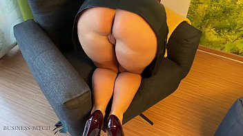 secretary in leather skirt used doggy, business-bitch