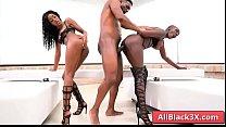 Ebony girls sharing a huge black cock - Zaawaadi & Asia Rae