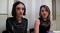 Marie and Sophie two naughty brunettes share a cock