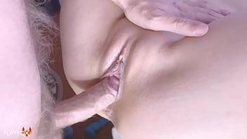 Fucked School Girlfriend on the Windowsill and Cum on Stomach