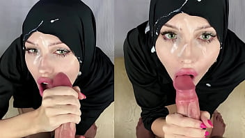 Muslim slut getting cum all over her face