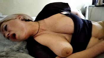 Bearded dad has fun fucking a blonde mom with big natural tits!