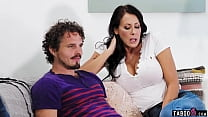 Stepmom Reagan Foxx jerks son off on movie night with his dad right there