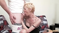 Badly fucked blonde milf Marie-Hélène wants two guys for her ass