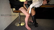 sexy secretary fucked after work in leather skirt and boots ends with cum on her slutty face - projectsexdiary